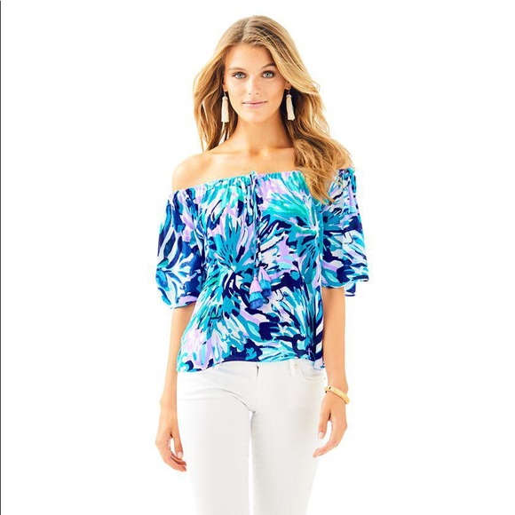 428d091cb2301 Lilly Pulitzer Sain Top in Capri Teal NWT
